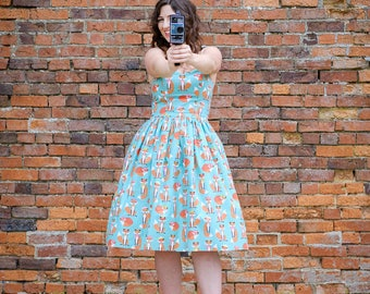 You're a Fox signature dress! Retro inspired handmade summer strappy dress. Sweetheart neckline, ideal quirky occasion dress.