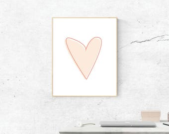 Heart, Digital Print, Heart Art, Digital Download, Heart Wall Art, Wall Prints, Printable Art, Heart Poster