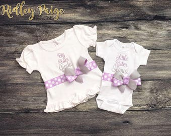 Custom Matching Sister Set, Little Sister Big Sister Sibling Outfits, Personalize Sister Bodysuit, Monogram Toddler Shirt, Hospital Outfits