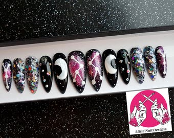 Constellation | Galaxy | Space | Crescent Moon | Swarovski Hand Painted False Nails | Little Nail Designs