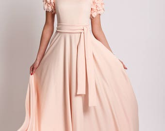 Long blush dress,  pink dress, occasional dresses-DONETTA
