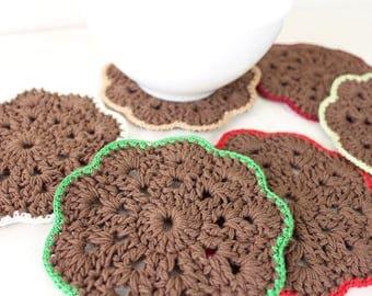 Petits napperons crochet Napperons marron Sous verres crochet Décoration table Sous tasse napperon Cadeau femme Cadeau mere Cadeau de Noël