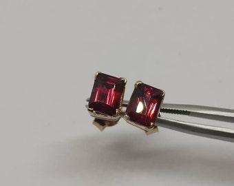 Rhodolite garnet stud earrings, rose gold plated earrings ,garnet earrings