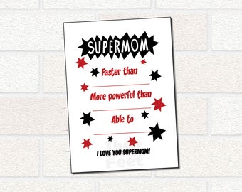 Printable Mommy Card from Child, Superhero card for Mom, SUPERMOM card, Mommy Birthday Card, all about mom, Mother's Day