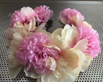 Pink and Off-White Carnation Headband