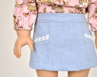 Skirt  18 inch doll clothes Lace Trim Pockets