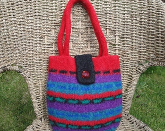 red felt bag, knit and felt bag, felted wool handbag, OOAK bag, red stripe felt purse, bright felt bag, wool felt handbag, red multi purse
