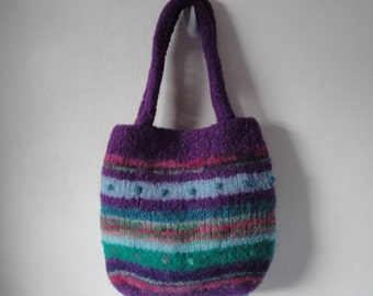 purple handbag, felted wool bag, knit and felt bag, purple multi bag, striped felt handbag, knitted felt bag, purple felt bag, OOAK felt bag