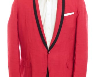 Size ~41L - 1950's VTG After Six by Rodofker red silk shantung dinner/tuxedo jacket