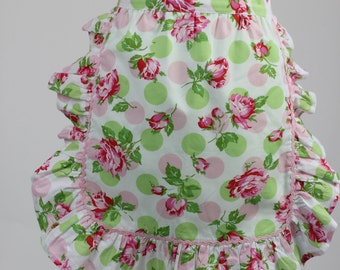 Vintage/Retro style apron,Floral Apron, Polka dots and Roses,Ruffed Apron