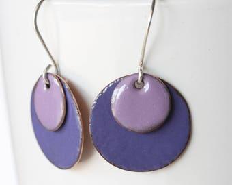 Purple Enamel Copper Sterling Silver Earrings-Circle Enamel Earrings-Handmade Enamel Earrings-Dangle Earrings-Enamel Jewlery- Drop Earrings