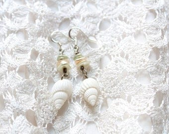 white seashell earrings with pastel pearlized glass beads