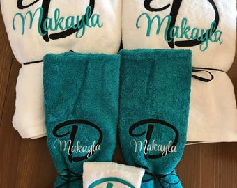 Monogrammed Towel Set - Graduation Gift - Embroidered Towels - Custom Towels - Personalized Bath Towel Set - Wedding Gift - Monogrammed