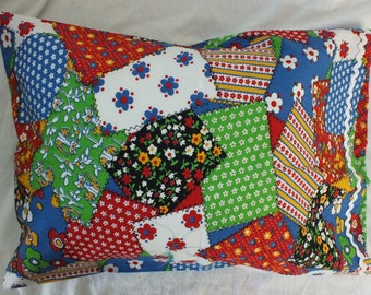 Travel Pillowcase in Old Fashioned Patchwork Quilt Pattern with Rickrack Trim  14 x 20