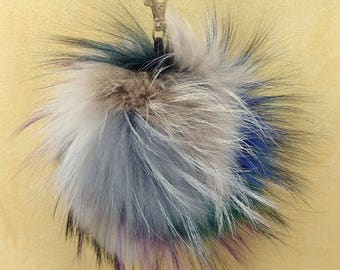 Unique Fox Fur Pom Pom, Bag Pom Pom,Fur keychain F692