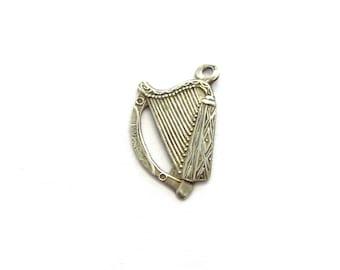 Vintage Sterling Silver Flat Standing Harp Instrument Charm, Engraveable