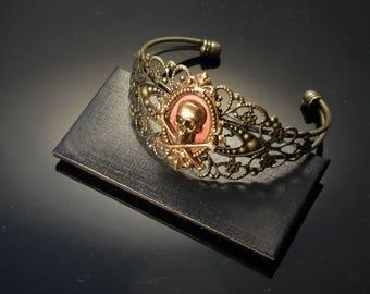 Brass Skull Bracelet | Streampunk Cuff | Skull Cuff | Biker Jewelry | Dawn Santucci | Metal di Muse | PopSkullpture