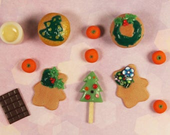 "Handmade Miniature Food Set for DollHouse 1/6 ""Christmas""/Cupcake/Ice Cream/Gingerbread/Chocolate/Tangerines/Egg-and-Sugar Shake"