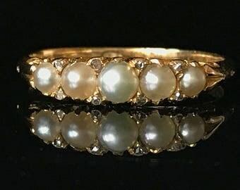 Antique, Victorian 18ct, 18k, 750 Gold Natural Pearl & Diamond ring, Circa 1880