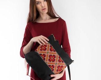 Black canvas tote / Canvas tote black / Canvas backpack / Embroidered backpack / Bag transformer / Ukrainian embroidery / Ukrainian gift