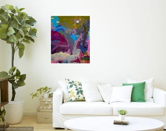 Explore all the Realms between Day and Night- 16x20inch Rainbow Abstract Art, Contemporary Art, Modern Art, Original Painting on Canvas