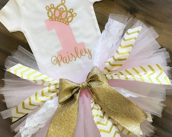 Fabric Scrap Tutu Outfit, Pink and Gold First Birthday Outfit Girl, Tiara Birthday Outfit, Tulle and Lace Tutu, Personalized Birthday Outfit