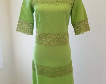 Vintage Lime Green Dress, Vintage Dresses, 1960s Dress, Lime Green Lace Dress, Green Lace Dress, Green Lace