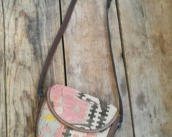 Vintage kilim x leather made in Turkey hand bag