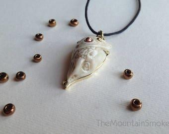 Handcarved antler pendant, Forest Creature, Leaf