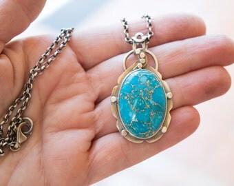Turquoise necklace, Turquoise pendant, Gemstone silver necklace pendant,Turquoise jewelry,Copper Turquoise silver necklace, Artisan necklace