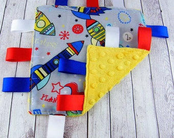 Taggy blanket etsy for Space minky fabric