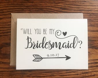 Will You Be My Bridesmaid Card, Custom Bridesmaid Card, Bridesmaid Proposal Card, Bridesmaid Wedding Card, Bridesmaid Gift, Red Fern Studio