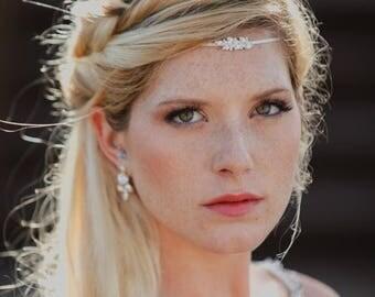 Boho Bridal Headband, Wedding Hair Accessory, Boho Head Chain, Bridal Hairband, Silver Tiara, Bridal Forehead Band, Metal Headband, Crown