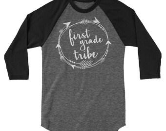 1st-4th Grade Teacher T-shirt | Tribe First Grade, Second Grade, Third Grade, Fourth Grade 3/4 Sleeve Raglan | Grade Level | Elementary