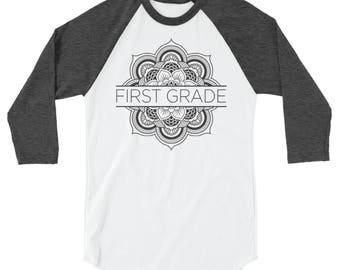 K-5th Grade Teacher T-shirt | Flower Mandala First Grade, Second Grade, Kindergarten 3/4 Sleeve Raglan | Grade Level | Elementary
