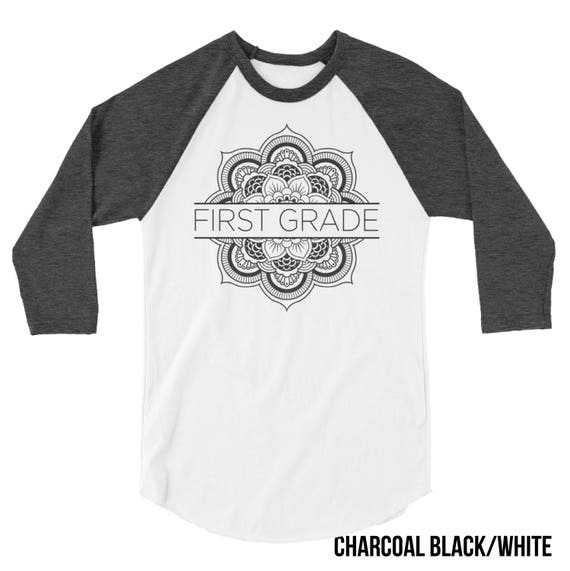 K-5th Grade Teacher T-shirt | Flower Mandala First Grade, Second Grade, Kindergarten 3/4 Sleeve Raglan | Grade Level | Elementary