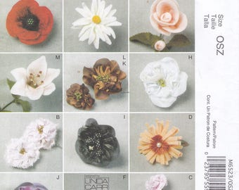 FREE US SHIP McCalls 6523 Sewing Pattern Fashion Accessories Fabric Flowers Stems Peony Carnation Poppy Gardenia Rose Out of Print Uncut