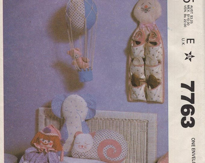 McCalls 7763 Sewing Pattern Free Us Ship Vintage Retro 1980s 80s Uncut Child's Bedroom Accessories Shoe Organizer Toys Embroidery Transfer
