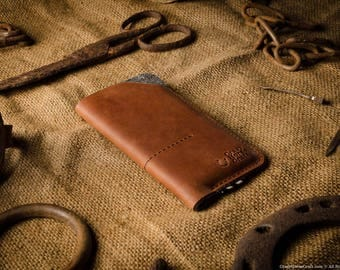 Leather iPhone X case, iPhone X sleeve, iPhone x leather case, iPhone X wallet card holder, Crazy horse classic brown leather 100% wool felt
