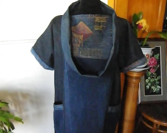 Recycled denim Japanese influenced tunic top