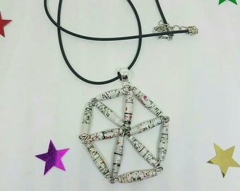 Varnished paper beads and leather necklace