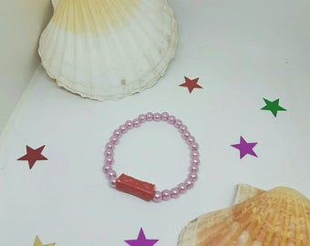 Bracelet pink and red beads