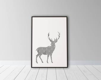 Christmas Deer Printable, Printable Art, Christmas Printable, Deer Printable, Christmas Deer, Wood Wall Art, Christmas Decor, Polka Dot Art