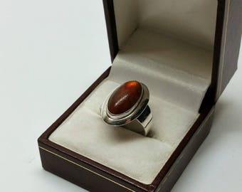 17.8 mm Ring Silver 925 Amber Nefrom Denmark SR1081