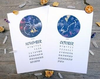 2018 Calendar, printable calendar, zodiac calendar, wall calendar, horoscope calendar, stars calendar, download calendar