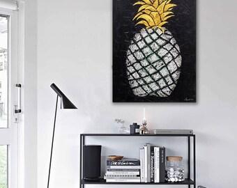 """Pineapple, Canvas WallArt, Original Artwork, DutchArtwork 23,6""""x31,5"""" Handmade by Andrea Janssen"""