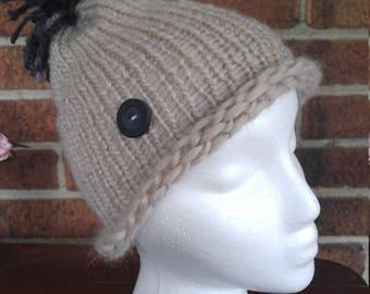 The Laura- Hand Knit hat with yarn pom pom