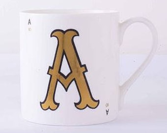 Gold Letter Mugs by VINTAGE PLAYING CARDS