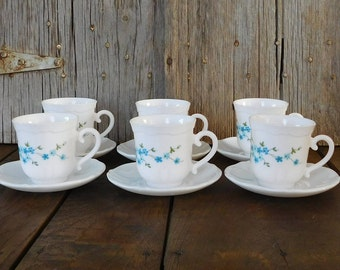 Vintage ARCOPAL Veronica Blue Flower Cups and Saucers Set of 6, French Dinnerware
