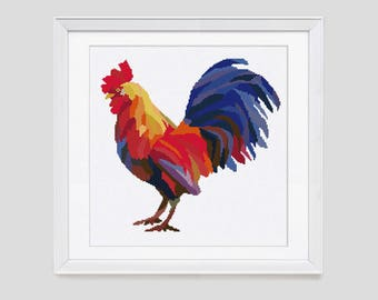 Cross stitch pattern, Rooster counted cross stitch, Chicken Cockerel rooster cross stitch pattern